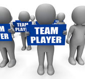 Characters Holding Team Player Signs Show Teamwork Or Teammate — Stock Photo