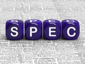 Spec Dice Mean Specification Requirements And Details — Stock Photo