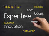 Expertise on Chalkboard Indicates Expert Skills Proficiency and — Stock Photo