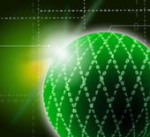 Green Ornamented Sphere Background Shows Geometrical Art And Dig — Stock Photo