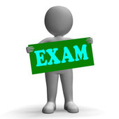 Exam Sign Character Means Examinations And Questionnaires — Stock Photo
