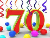 Number Seventy Party Shows Creative Celebration Or Birthday Part — Stock Photo