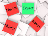 Expert Novice Post-It Notes Mean Professional Or Learner — Stock Photo