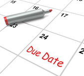 Due Date Calendar Shows Deadline For Submission — Stock Photo