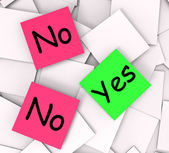 Yes No Post-It Notes Mean Answers Affirmative Or Negative — Stock Photo