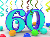 Number Sixty Party Means Garland Decoration Or Bright Balloons — Stock Photo