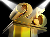Golden Twenty Five On Pedestal Shows Twenty Fifth Movie Annivers — Stock Photo