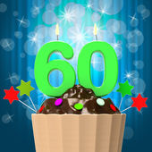 Sixty Candle On Cupcake Means Sixtieth Birthday Anniversary — Stock Photo
