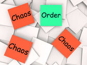 Order Chaos Post-It Notes Mean Orderly Or Chaotic — Stock Photo