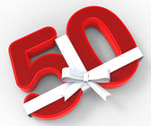 Number Fifty With Ribbon Means Happiness And Celebrations — Stock Photo