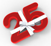 Number Twenty Five With Ribbon Means Twenty Fifth Birthday Or Ce — Stock Photo