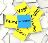 Meditation Post-It Note Shows Relaxation And Enlightenment — Stock Photo