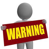 Warning Sign Character Shows Danger And Hazard — Stock Photo