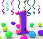 Number One Party Means First Year Party Or Celebration — Stock Photo