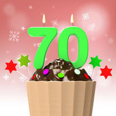 Seventy Candle On Cupcake Shows Elderly Celebration Or Reunion — Stock Photo