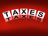 Taxes Blocks Represent Duties and Taxation Documents — Stock Photo