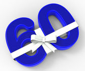 Number Sixty With Ribbon Shows Birthday Presents Or Gifts — Stock Photo