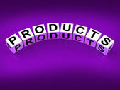 Products Blocks Show Goods in Production to Buy or Sell — Foto de Stock