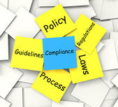 Compliance Post-It Note Shows Conforming To Regulations And Poli — Stock Photo