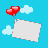 Heart Balloons On Note Means Sweet Invitation Or Affection Note — Stockfoto