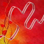 Ribbon Heart Means Love Affection And Attraction — Stock Photo