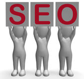 SEO Banners Mean Optimized Web Search And Development — Stock Photo