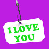 I Love You On Hook Means Love And Romance — Stock Photo