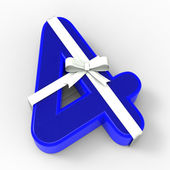 Number Four With Ribbon Means Birthday Party Presents Or Congrat — Stock Photo