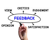 Feedback Diagram Means Opinion Judging And View — Stock Photo