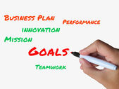 Goals on Whiteboard Show Targets Aims and Objectives — Stock Photo