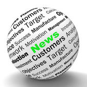 News Sphere Definition Means Global Headlines Or International N — Stock Photo