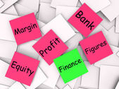 Finance Post-It Note Shows Equity Or Margin — Stock Photo