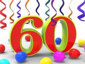 Number Sixty Party Shows Sixtieth Birthday Party Or Anniversary — Stock Photo