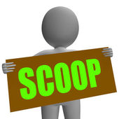Scoop Sign Character Means Gossipmonger Or Intimate Tatter — Stock Photo