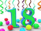 Number Eighteen Party Means Colourful Teen Celebration Or Event — Stock Photo
