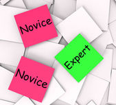 Novice Expert Post-It Notes Mean Amateur Or Skilled — Stock Photo
