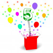 Number Five Surprise Box Means Surprise Party Or Festivity — Stock Photo #45548983