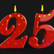 Number Twenty Five Candles Show Burning Candles Or Bright Flame — Stock Photo #45549001