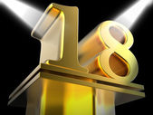 Golden Eighteen On Pedestal Shows Success Recognition Or Excelle — Stock Photo