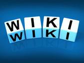 Wiki Blocks Represent Wikipedia and Internet Faqs — Stock Photo