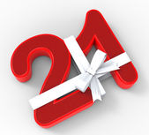 Number Twenty One With Ribbon Means Birthday Celebrations Or Eve — Foto Stock