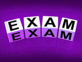 Exam Blocks Show Examination Review and Assessment — Stock Photo