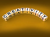 Creativity Dice Mean Inventiveness Inspiration And Ideas — Stock Photo