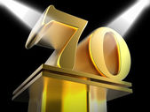 Golden Seventy On Pedestal Means Honourable Mention Or Excellenc — Stock Photo