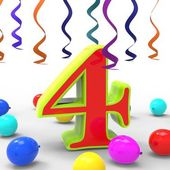 Number Four Party Shows Creative Decoration Or Adornments — Stock Photo