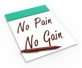 No Pain No Gain Notebook Shows Hard Work Retributions And Motiva — Stock Photo