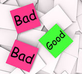 Good Bad Post-It Notes Show Satisfying Or Awful — Stock Photo