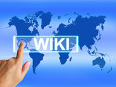 Wiki Map Means Internet Education and Encyclopaedia Websites — Stock Photo