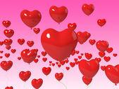 Herz-ballons schweben zu zeigen, ehe-jubiläum und romanticis — Stockfoto