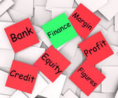 Finance Post-It Note Means Crediting Or Profit — Stock Photo